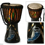 Wood djembe drum, 'Prosperous Horns'