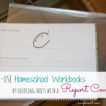 Reuse Homeschool Workbooks by Covering Sheets with a Report Cover