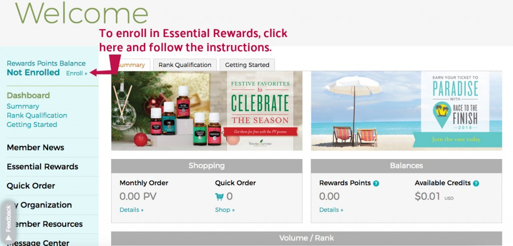 Member ESSENTIAL REWARDS ENROLLMENT