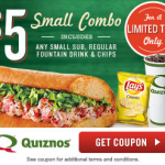 Quiznos $5 Small Combo Coupon