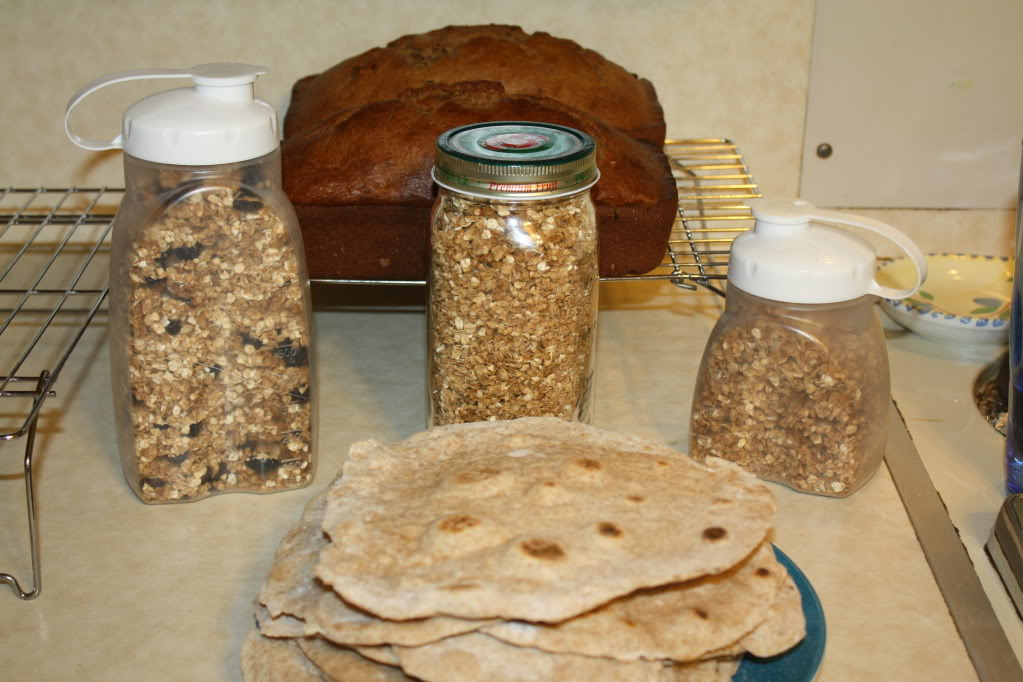 Whole-wheat tortillas, 2 pans of Granola, and 2 loaves of Banana-Raisin bread
