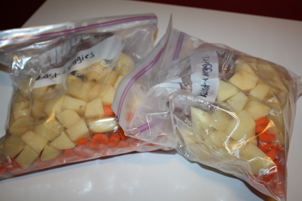 Veggies and Roast... ready to thaw and toss in the crockpot!