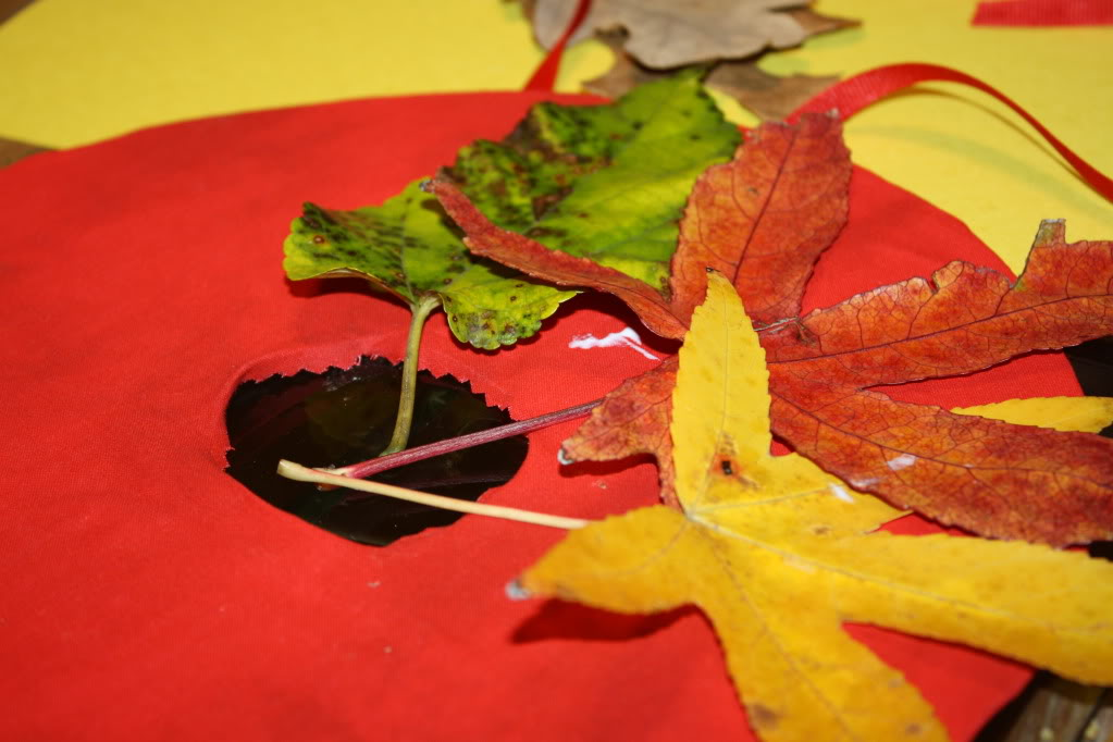 Arrange them however you wish... use as many or as few leaves as you want! Glue leaves on, and press firmly