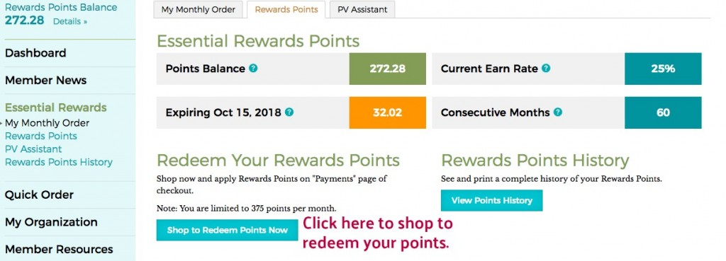Redeeming Essential Reards Points