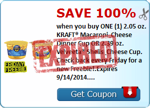 SAVE 100% when you buy ONE (1) 2.05 oz. KRAFT® Macaroni & Cheese Dinner Cup OR 2.39 oz. Velveeta® Shells & Cheese Cup. Check back every Friday for a new Freebie!.Expires 9/14/2014.Save 100%.