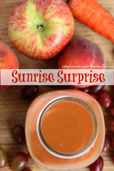 Sunrise Surprise Juice Recipe | amylovesit.com #write31days
