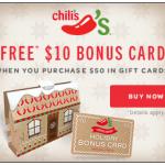 Chili's – Free $10 Gift Card