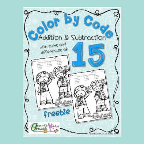 Homeschool Freebie: Snow Kids Color by Code