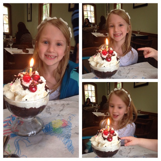 Celebrating Reese's 9th birthday. You have to be quick when the dessert comes...